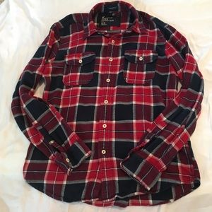 American Eagle Blue Red Flannel